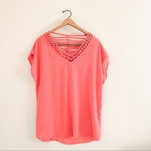 BlueBell Plus Size Coral Pink Studded Cutout Top